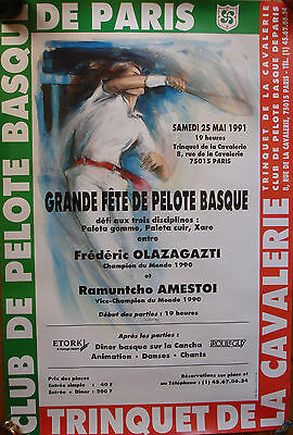 CLUB DE PELOTE BASQUE DE PARIS 1991 PARTARRIEU-40x60-BELLE AFFICHE/POSTER/PLAKAT