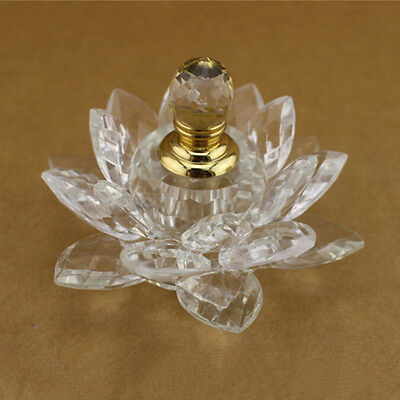 100mm Clear Quartz Crystal Glass Lotus Flower Perfume Bottle With Gift Box