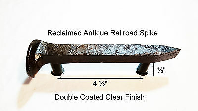 "4-1/2"" Left Sealed Railroad Spike Dresser Drawer Cabinet Handle Antique Vintage"