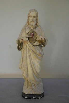 VINTAGE PIERACCINI Chalk Figure of JESUS - SACRED HEART 1930's / 42CMS