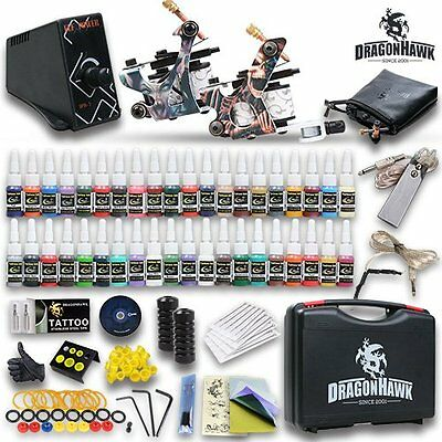 DragonHawk Tattoo Kits 2 Rotary Machine Gun Power Needles USA Brand Inks with