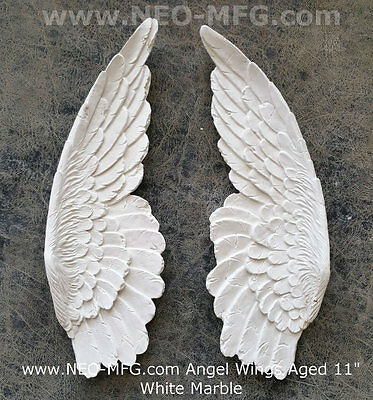 """Angel Wings Aged wall sculpture statue plaque 11"""" set pair"""