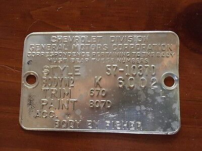 1957 Chevy Bel Air 2 Dr. HT Cowl Tag Data Plate- Onyx Black  & India Ivory