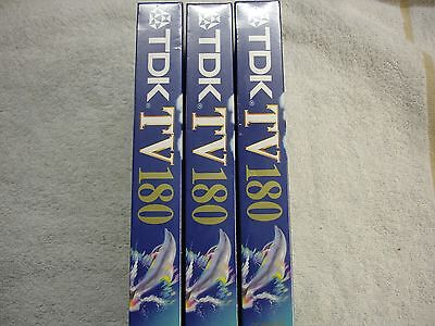 3 TDK E-180 TV VHS PAL Video Cassette 3 Hours Brand 3 X Video Tapes