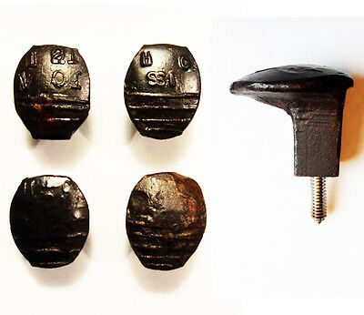 4 Easy Screw Railroad Spike Knobs Door Pulls Cupboard Old Antique Vintage Rustic