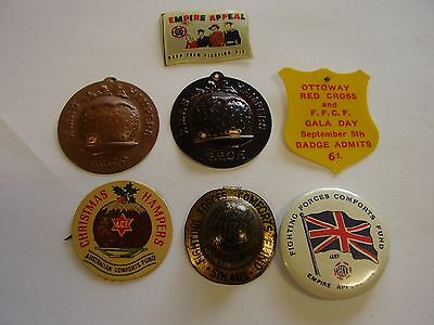 7 WW2 Fighting Forces Comforts Fund Button Badge Pins Xmas Hamper Appeal