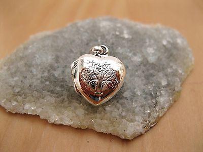 925 Sterling Silver - Small Silver Heart Locket Pendant Tree of Life Engraving