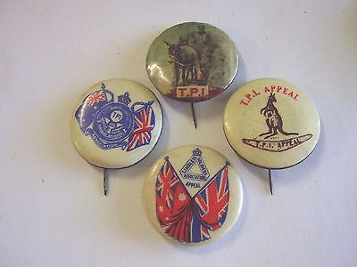 4 Button Day Badges TPI Simpson & His Donkey, ANZAC Limbless Soldiers Asscn