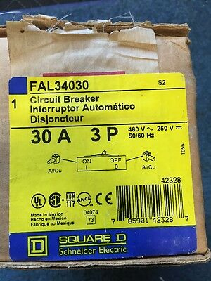 NEW Square D FAL34030 Series 2 Thermal Magnetic Circuit Breaker 3 Pole 30Amp