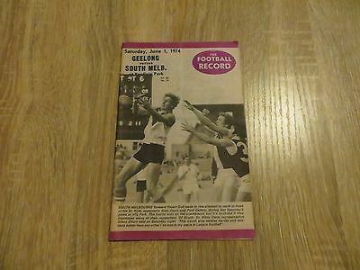 Geelong Cats versus South Melbourne Swans Football Record 1974