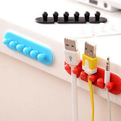 2PCS Wire Cord Cable Ties Tidy Holder Drop Clip Organizer Line Fixer Winder US