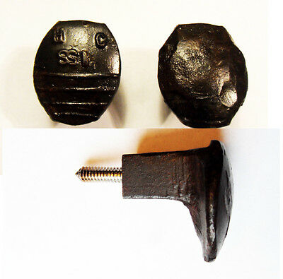 2 Easy Screw Railroad Spike Knobs Door Pulls Cupboard Old Antique Vintage Rustic