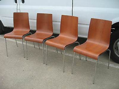 4 x CAFE, RESTAURANT, STUDENT CHAIRS, WOOD STACKABLE