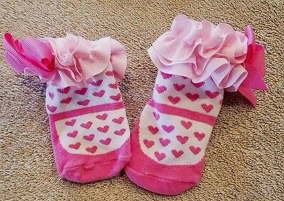 Cute Baby Girl 0-6 Month Pink Ruffle Socks Adorable!