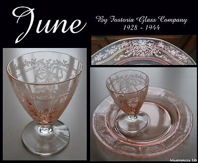 Fostoria June Pink Whiskey & Hor D'oeuvre Canape Plate Etch Depression Glass