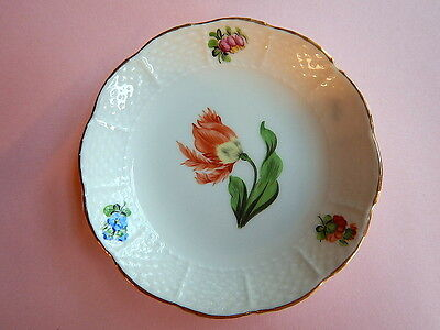 vtg HEREND DISH KITTY Parrot Tulip gold trim hand painted ex cond HUNGARY '47 sm