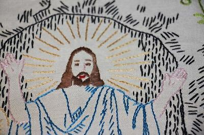 VINTAGE HAND EMBROIDERED Jesus angels Prayer Now I lay me down Kitchen Towels