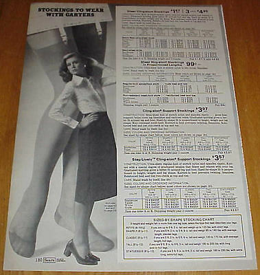 Women in Stockings Hosiery Slips Girdles Bra Lingerie 70s Catalog Ads #1 #020716