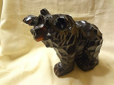 FAUX WOOD BLACK BEAR with EXTENDED PAW STATUE FIGURINE - LODGE-CABIN DECOR