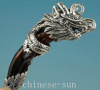 Tastefully Chinese Old silver Armored Wolf Tooth Dragon Collect Statue Pendant