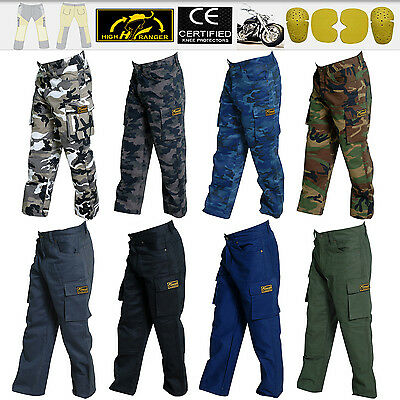 Men Motorbike Camouflage & Cargo Pants Reinforced with Protective Lining