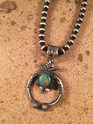 Kingman Turquoise & Sterling Silver Hand Stamped Navajo Naja Signed