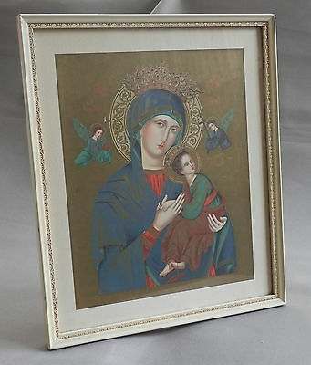 Framed Vintage Religious Picture Our Lady Of Perpetual Help Succour