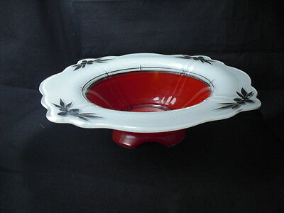 Paden City Ruby Red Silver Frosted Console Bowl