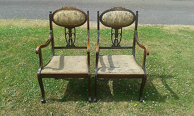 Pair Of Antique Inlaid Chairs