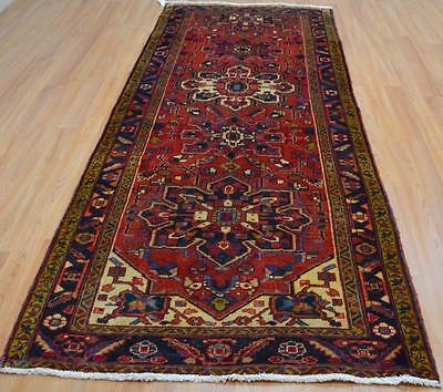 3'10x10 Collectible Genuine S Antique Persian Heriz Hand Knotted Wool Runner Rug