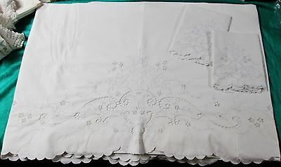 Antique MADEIRA Queen Size Sheet Set Blue Daffodil Embroidery Cutwork Unused