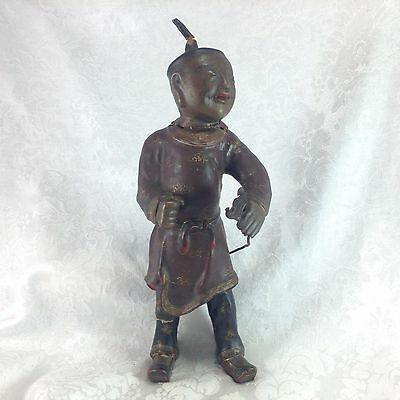 Antique Vintage Chinese Composition Figure Sculpture Doll Man with Flower