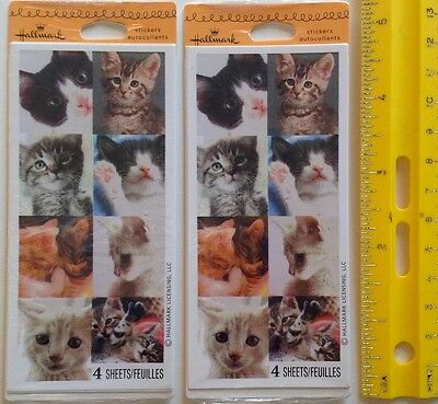 RETIRED 2 Pack Lot Cat Kittens Over 60 total Stickers