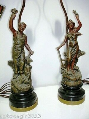 early 20thC FRENCH patinated SPELTER NEWEL POST LAMPS antq. TRAVAIL AGRICULTURE