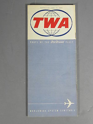 TWA Time Table July 11th 1965 / FREE Shipping