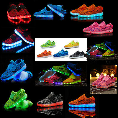 Kids Light Up Shoes Glow in the dark Shoes Boys Girls LED Flashing Sneakers Size