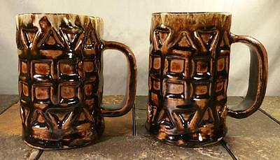 Studio Pottery Brown Fire Glazed Large Root Beer Tankard Mug Stein Cup (Pair)