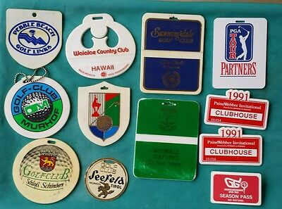 Golf Bag Tag Tournament Badge Lot of 12 from a PGA Pro Estate