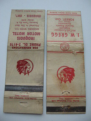 2X Old Red Indian Oil Matchbook Logo Sign Garage Forest Iroquois Ontario Mccoll