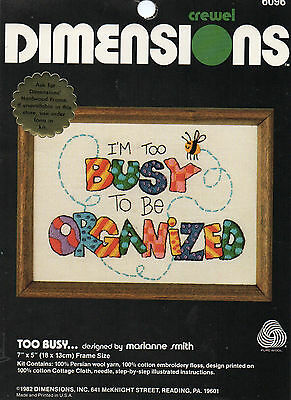 """""""too Busy"""" Dimensions Crewel Kit"""