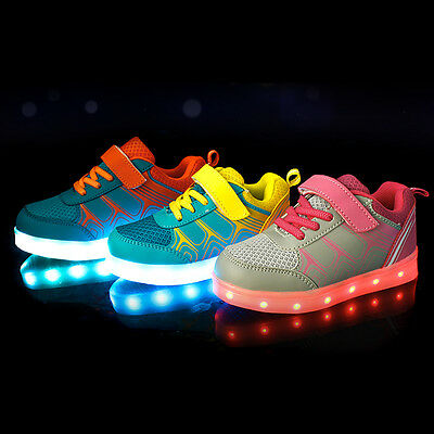 Kids Children Casual Shoes Boys Girls Light Up 7Color LED Luminous Sneakers Lot