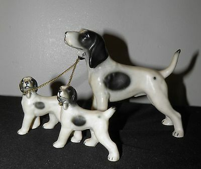 Vtg POINTER Dog Family  Figurines White Black Spots Chained Made in Japan
