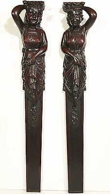 "Pair Antique 29"" FIGURAL FEMALE CARVED MAHOGANY COLUMNS Architectural Furniture"