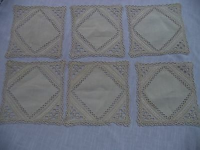 Antique Italian Lefkara hand embroidered cocktail/table mats-set of 6-Stunning!
