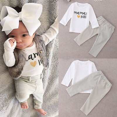 Newborn Toddler Kids Baby Boys Girls Outfits T-shirt Tops+Long Pants Clothes Set