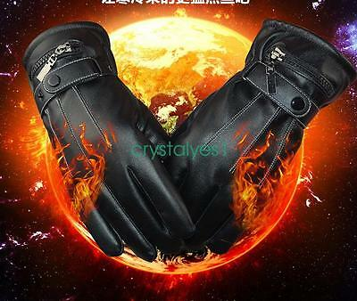 Battery Heated Rechargeable Waterproof Touch Screen PU Winter Gloves GL01 C