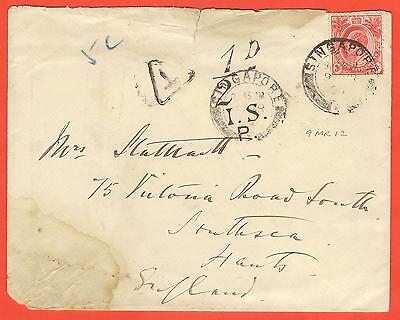 1912 cover Singapore to UK 3c rate; taxed 5 centimes or ½d