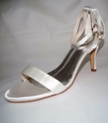 Brand New White Satin Wedding Shoes High Heel Straps Open Toe Buckle Size 39