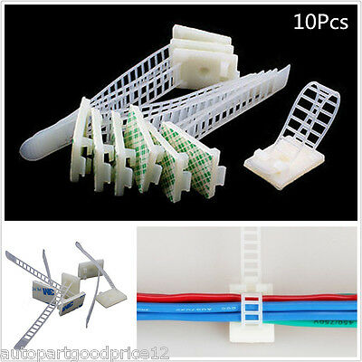 10Pcs White 3M Self-Adhesive Adjustable Clips Fastens Cable Wire Fixed Organizer