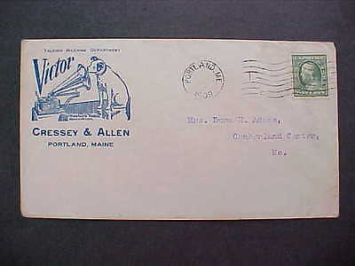 Maine: Portland 1909 Victor Illustrated Nipper & Phonograph Advertising Cover
